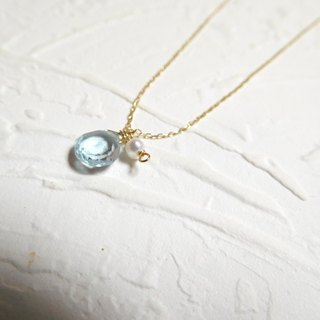 Fat droplets type Topaz Pearl pure 10K gold necklace