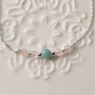 X [925 sterling silver natural gemstone delicate bracelet Amazonite +] Rose Quartz (Christmas gift exchange)