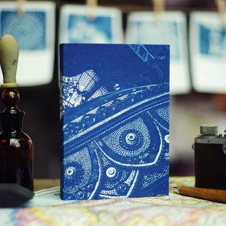 Handmade cyanotype notebook - Classical Relief