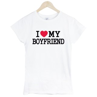 I Love My boyfriend short-sleeved T-shirt - white I love my boyfriend Valentine's Day Tanabata couple design Text