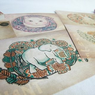 <Animals in the Secret Land>  Postcards(cat/elephant/eagle/rabbit)