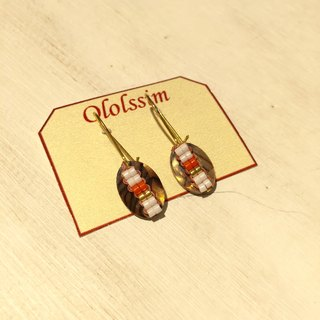 ololssim brown pattern retro ethnic earrings