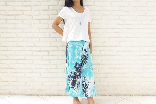 Uneven dyed relax wide flared pants <Blue navy>
