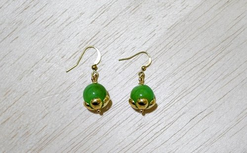 X natural stone brass ring * Green * - Hook Earrings