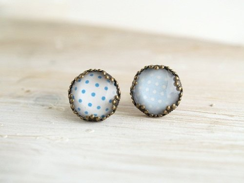♥ ♥ OldNew Lady- made a small gift bronze lace earrings - little section [blue dot / light blue dot]