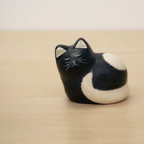 Paper and cats - in pearl Benz Papa (black cat) healing feeling full cure was small Japanese handmade furnishings ornaments valentine anniversary