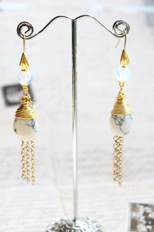 White Turquoise and Moonstone with Golden Tone Chain Drop Long Earrings (E636)