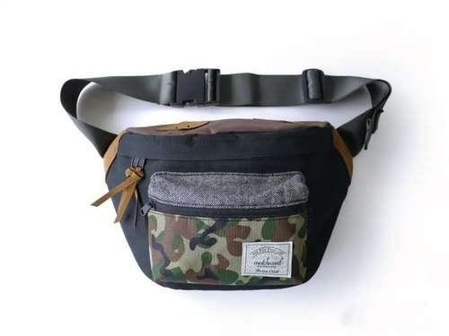 Matchwood Portable Purse Backpack Crossbody Chest Bag Black Camouflage