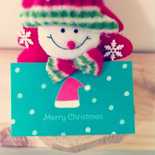 """KerKerland"" ringing the Christmas hat. Small card (business card size)"
