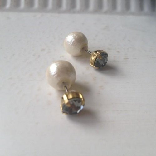 Crystal × Cotton Pearl Earrings