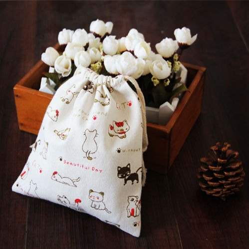 Custom cute cartoon cat trumpet cotton cloth drawstring pouch Drawstring bags