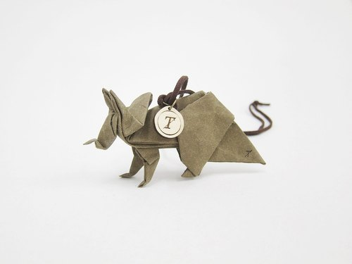 Origami Series - Triceratops necklace (dark green / gray)