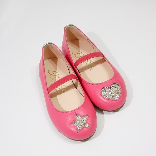 AliyBonnie star leather shoes asymmetric heart doll shoes - No. 26 Peach sister
