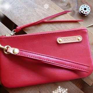 <隆鞄工坊> Clutch bag/wallet/mobile phone bag/cosmetic bag (red)