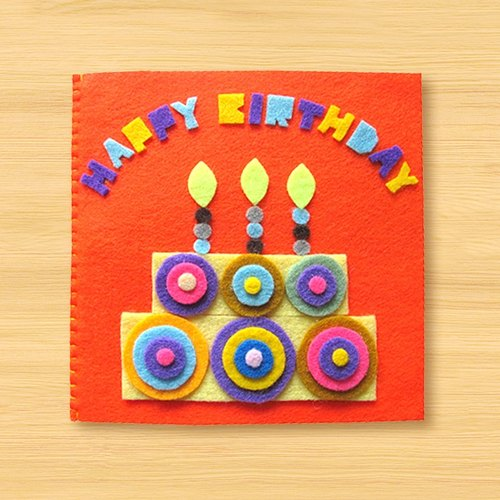 Non-woven handmade cards: birthday cards circle F