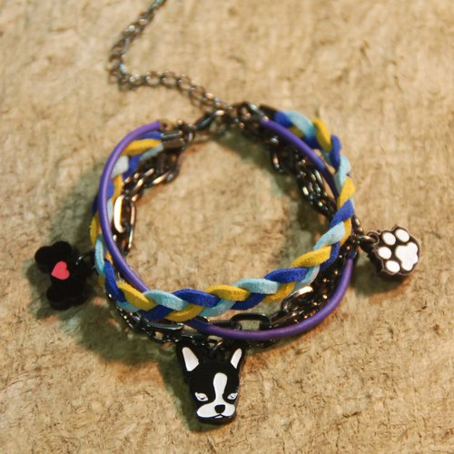 Bulldog / footprint + bone / hair child / multi-layered braided rope bracelet /