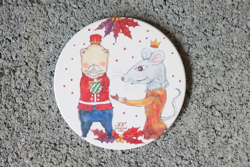 Dinosaur Nutcracker Christmas ceramic water coaster
