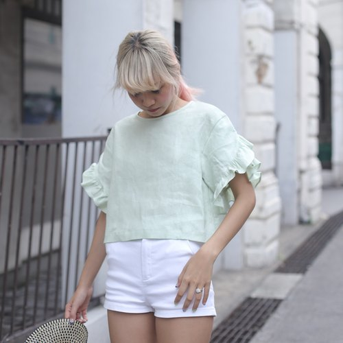 Ruffle Carnation Top (lime)
