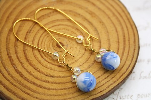 Bubble clouds sunny blue dolomite bead earrings beaded strap silvered