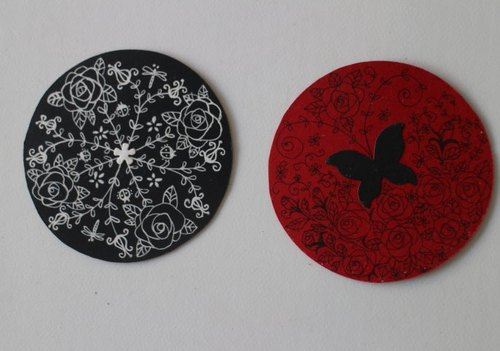 Hand-painted paper coaster (1 Group 2) (sold)