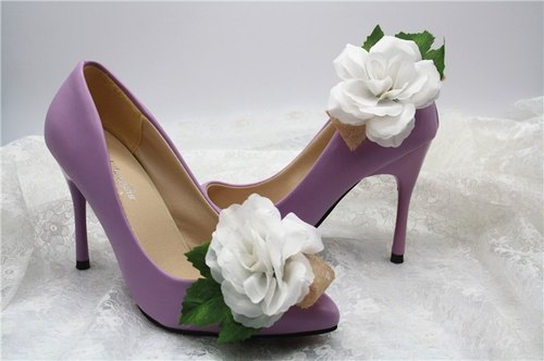 Romantic White Rose shoes, accessories, decorative high-heeled shoes clip dinner, bridal shoes, flower decoration