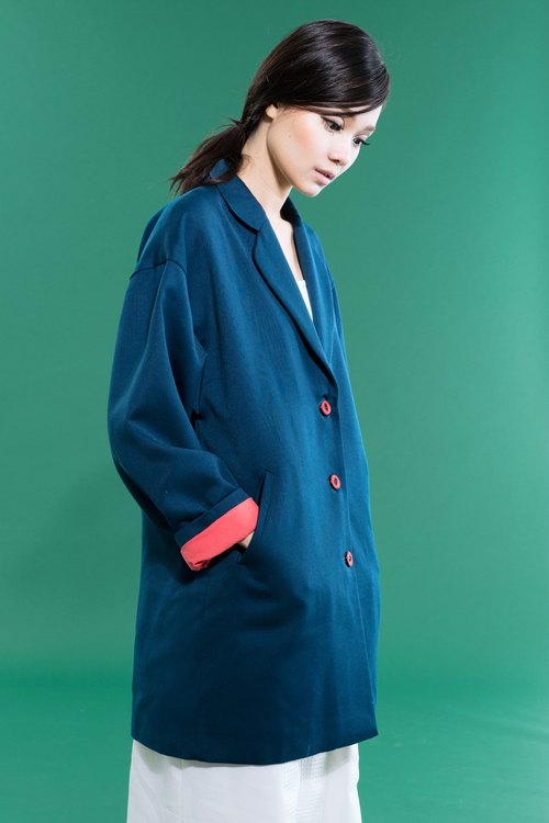 tan-tan / blue wool coat