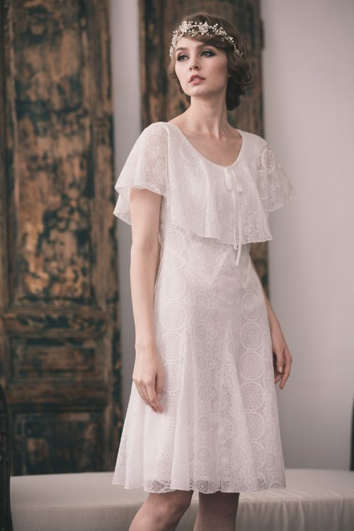 【Kan's】30s Vintage Style Embroidery Lace Dress  (white)