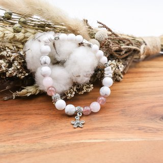沁Raspberry Soda| Strawberry Crystal White Stone Stone | Natural Stone Bracelet