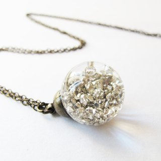 * Rosy Garden * Silver planet rocks flowing in water inside glass ball necklace