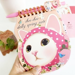 Jetoy, Choo choo sweet cat carry Spiral Notebook _Pink hood (J1408202)