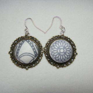 (C) geometric sun _ cloth button earrings random shipments [] C40BSY04