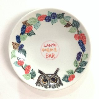Lanyu scops owl + mulberry - [text] Lanyu customizable painted saucer