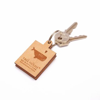 Wooden Mirror key chains (Whale)