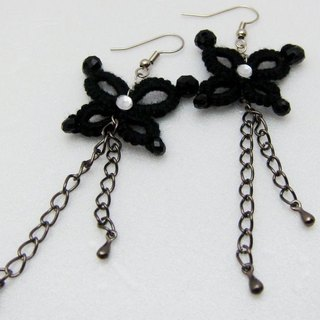 Black butterfly lace knitting. Earrings (spot)