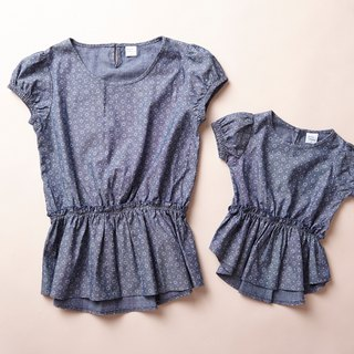 Light sweet family fitted snowflake denim waisted short-sleeved shirt