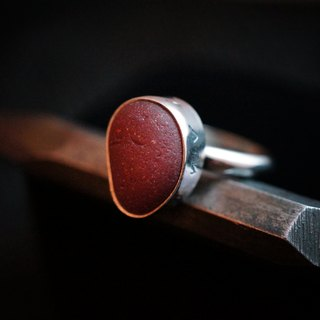 【janvierMade】England Seaglass Sterling Silver Ring / Genuine Red Seaglass Ring / 925 Sterling Silver Handmade