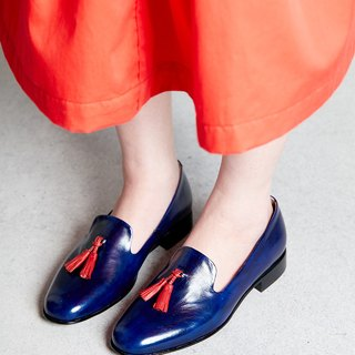 H THREE Fringe Loafers / Flat / Blue / Deep Blue