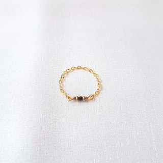 Black crystal brass chain ring