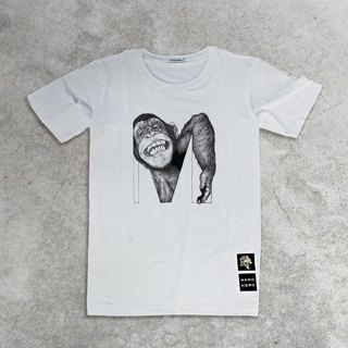 Monkey monkey hand-drawn letter T-shirt
