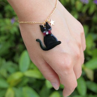 Meow - black cat and star bracelet
