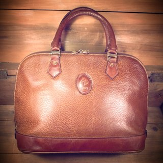[Bones] early PONY caramel leather retro shell bag hand bag out of print genuine antique Vintage