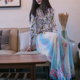 Mark Flower Chain Wen Qing style chiffon dress color