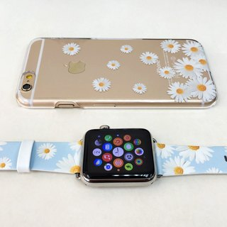 [Gift Packaging] Apple Watch Series 1 , Series 2 and Series 3 - Chrysanthemum White Floral Pattern Soft / Hard Case + Apple Watch Strap Band