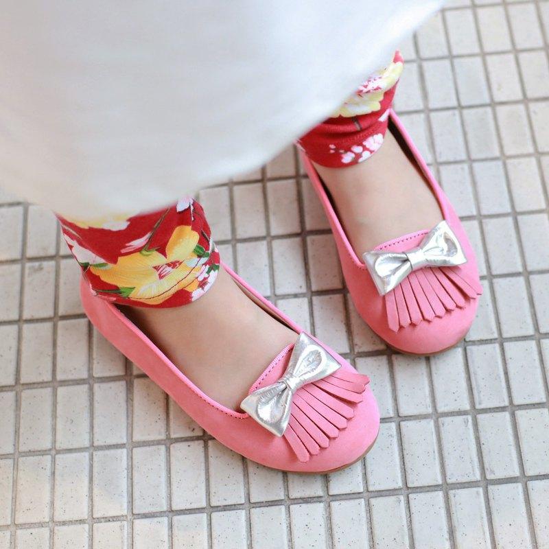 台灣製 流蘇女童娃娃鞋-莓果粉