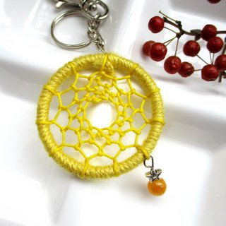 Little kite - dream catcher key ring - yellow