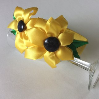 Kanzashi yellow ribbon flower headband hair accessories