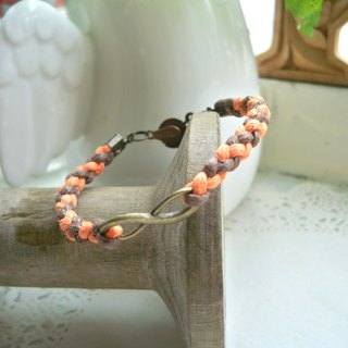 Infinite Braided Bracelet - Pressed (Orange + Coffee)