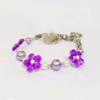Ella Wang Design dimensional flowers pearl necklace - pink and purple pet collar fashion Hand Size: XS ~ M +