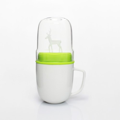 Dipper 1 ++ elk double cup group - mug + glass cup (white section / green cover)