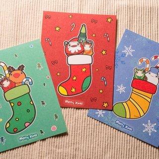 Christmas stockings series - Christmas card postcard - 3 sets (with envelopes)